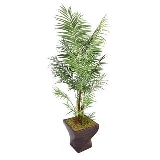 "Laura Ashley 86"" Tall Areca Palm Tree in 17"" Fiberstone Planter"