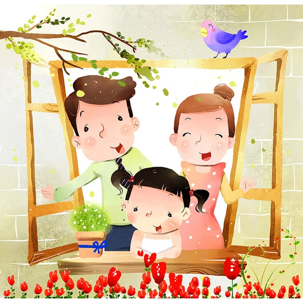 'Portrait of Family with One Child at Window' Print Canvas Wall Art