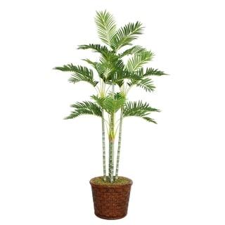 "Laura Ashley 73"" Tall Palm Tree in 17"" Fiberstone Planter"