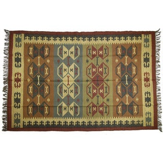 Handwoven 6 x 9-foot Wool and Jute Kilim Rug (India)