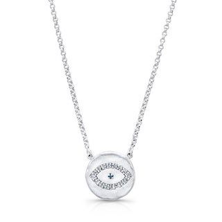Sterling Silver Diamond Accent Evil Eye Necklace (J-K, I2-I3)