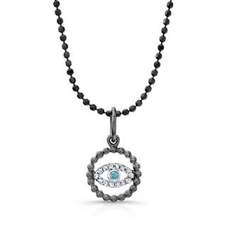 Black-plated Silver 1/10ct TDW Diamond Evil Eye Necklace (J-K, I2-I3)