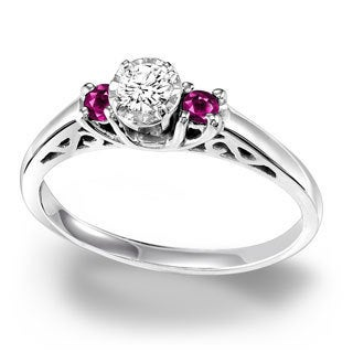 Cambridge Sterling Silver 1/6ct TDW Diamond and Ruby Ring