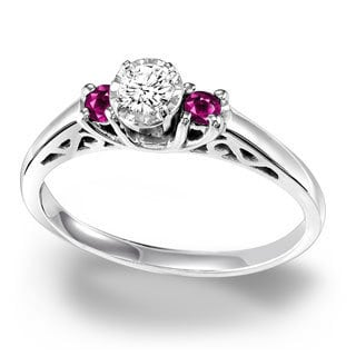 Cambridge Sterling Silver Three Stone 1/6ct TDW Diamond and Ruby Ring