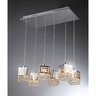 Dice 6-light Crystal/ Chrome Chandelier