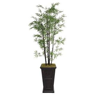 Laura Ashley 91-inch Tall Black Bamboo Tree in Fiberstone Planter