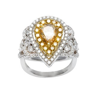 Kabella Luxe 18k Gold 2 3/8ct TDW Certified Yellow Pear Cut Diamond Ring (G-H, SI1-SI2)