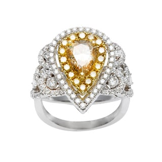 18k Gold 2 3/8ct TDW Certified Yellow Pear Cut Diamond Ring (G-H, SI1-SI2)