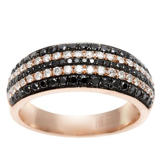 14k Rose Gold 1/2ct TDW Black and White Diamond Ring (I-J, SI1-SI2)