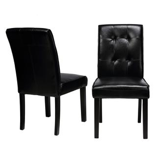 Cortesi Home Black faux Leather Dining Chair (Set of 2)