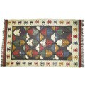 Handwoven 5 x 7-inch Wool and Jute Kilim Rug (India)