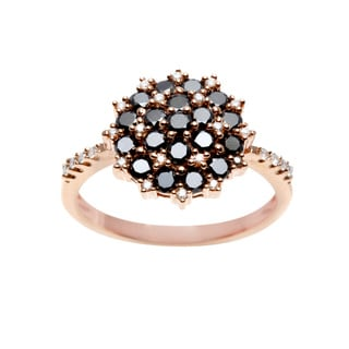 18k Rose Gold 3/4ct TDW Black and White Diamond Floral Ring (I-J, I1-I2)