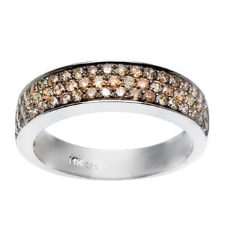 14k White Gold 3/4ct TDW Brown Diamond Pave Band