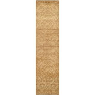 Safavieh Hand-knotted Tibetan Iron Scrolls Light Gold Wool/ Silk Rug (2'6 x 10')