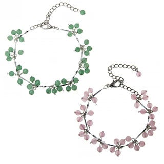 Handmade Green Jade Rose Quartz Beaded Bracelet (China)