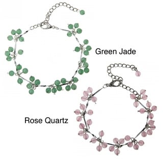 Handmade Green Jade Rose Quartz Beaded Bracelet (China)