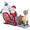 Outdoor Inflatable Rudolph Pulling Santa and Bumble Sleigh