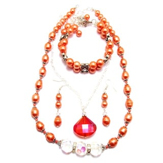 Jewelry and Rosaries 24-inch Tangerine Orange Pearl Wedding Jewelry Set