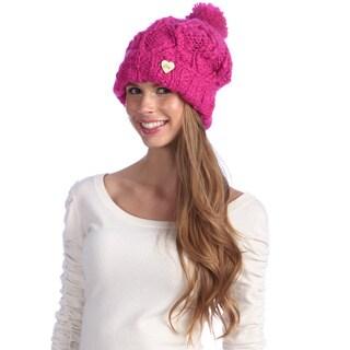Chaos Women's Pink Chunky Knit Pom Beanie
