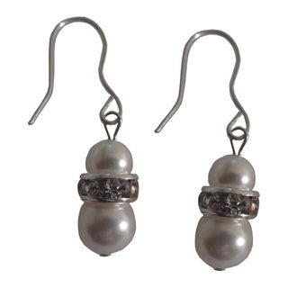 Strerling Silver Girl's Faux Pearl and Crystal Elements Earrings
