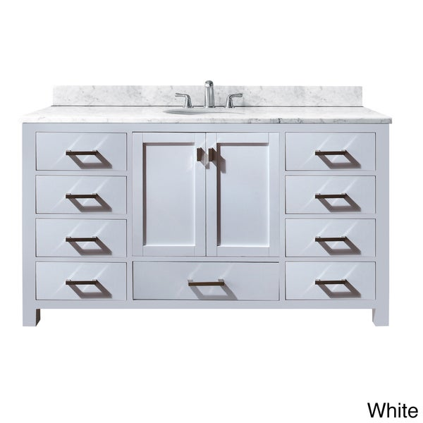 Model 60 Inch Single Vanity With Galala Beige Marble Top And Single Sink