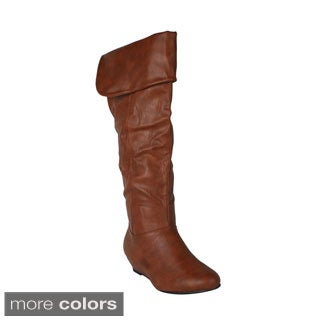 Wild Diva Women's 'Iona-11' Knee-high Wedge Boots