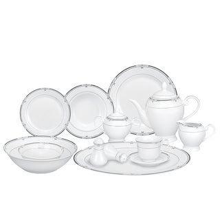 Lorren Home Trends Silver/ Black Accent 57-piece Porcelain Dinnerware Set