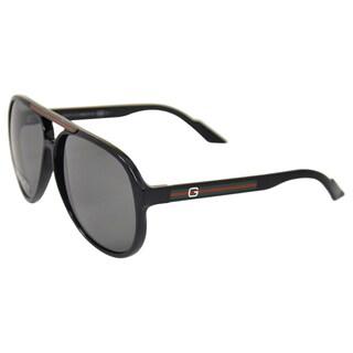 Gucci Men's 'GG 1627/S D28' Black Plastic Aviator Sunglasses