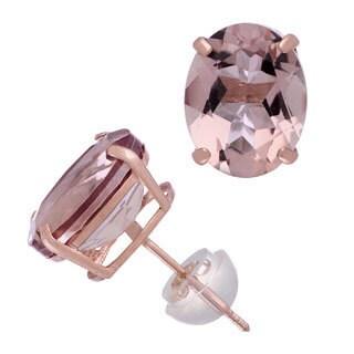 Gioelli 14KT Rose Gold Simulated Morganite Oval Stud Earrings