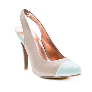 Gomax Women's 'Ashland-21' Grey/ Light Blue Capped Toe Pumps