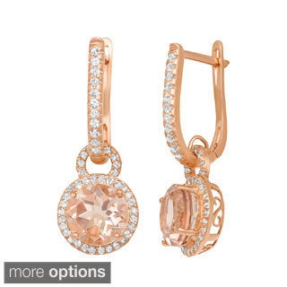 Gioelli Rose Gold Plated Sterling Silver Simulated Morganite and White Sapphire Accent Earring