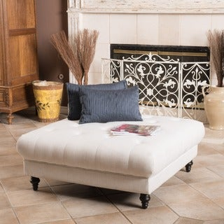 Christopher Knight Home Bordeaux Eggshell Fabric Ottoman