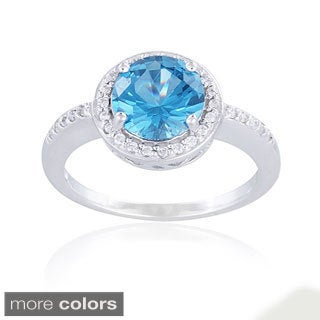 Icz Stonez Sterling Silver Round-cut Cubic Zirconia Ring