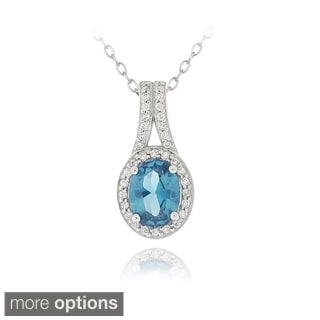 Icz Stonez Sterling Silver Cubic Zirconia Oval Necklace
