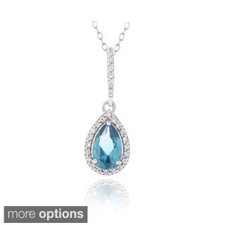 Icz Stonez Sterling Silver Cubic Zirconia Teardrop Necklace
