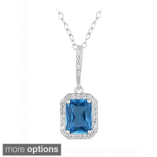 Icz Stonez Sterling Silver Cubic Zirconia Emerald-cut Necklace