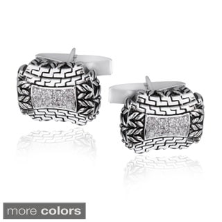 Icz Stonez Rhodium-plated Cubic Zirconia Greek Design Cuff Links