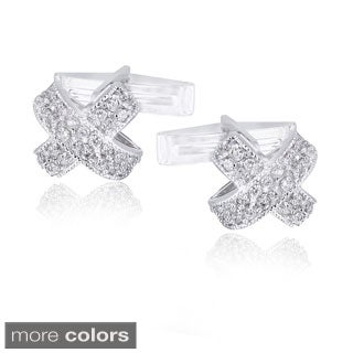 Icz Stonez Rhodium-plated Cubic Zirconia X-Design Cuff Links