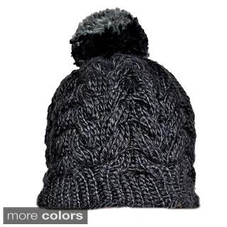 Hand-knit Pompom Acrylic Wool Snowboarding Beanie (Nepal)