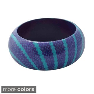Abstract Snake Print Wooden Bangle (Indonesia)