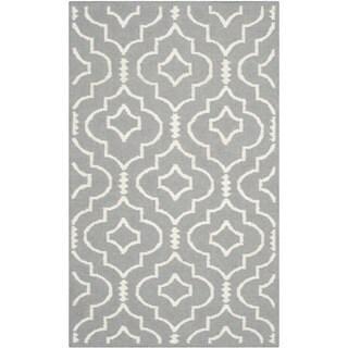 Safavieh Handwoven Moroccan Reversible Dhurries Grey/ Ivory Wool Geometric Rug (3' x 5')
