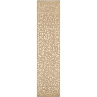 Safavieh Hand-knotted Contemporary Tibetan Beige Wool/ Silk Rug (2'6 x 12')