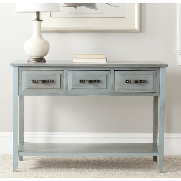 safavieh aiden console distressed pale blue white table