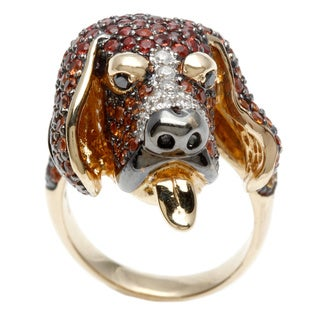 Neda Behnam Galleria 14k Gold Sapphire and 1/4ct TDW Diamond Dog Ring (H-I, SI1-SI2)