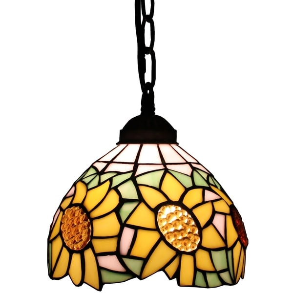 for amora lighting tiffany style sunflower 8inch hanging pendant lamp. Black Bedroom Furniture Sets. Home Design Ideas