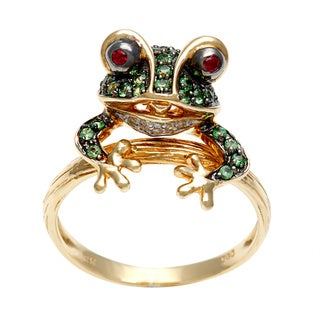 Galleria 14k Yellow Gold Ruby, Tsavorite and Diamond Accent Frog Ring