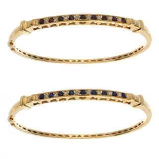 10k Yellow Gold Gemstone and Diamond Accent Bangle Bracelet