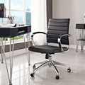 Jive Black Ribbed Vinyl Mid-back Executive Office Chair