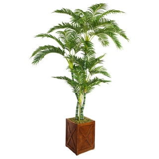 Laura Ashley 81-inch Tall Palm Tree in Fiberstone Planter
