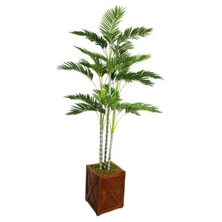 Laura Ashley 77-inch Tall Palm Tree in Fiberstone Planter